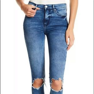 Free PeopleHigh Waisted Busted Knee Skinny Jeans